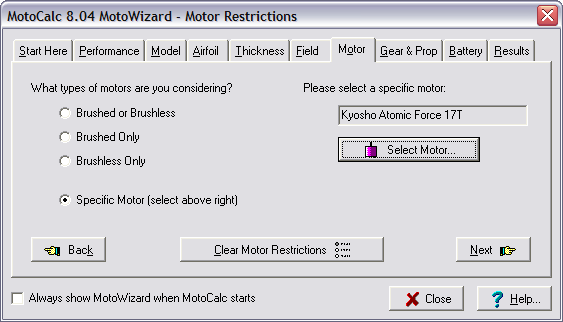 MotoCalc Tutorial - Model Aircraft Power System Selection
